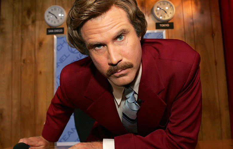 Will Ferrell doing what he does best as retro news anchor Ron Burgandy.