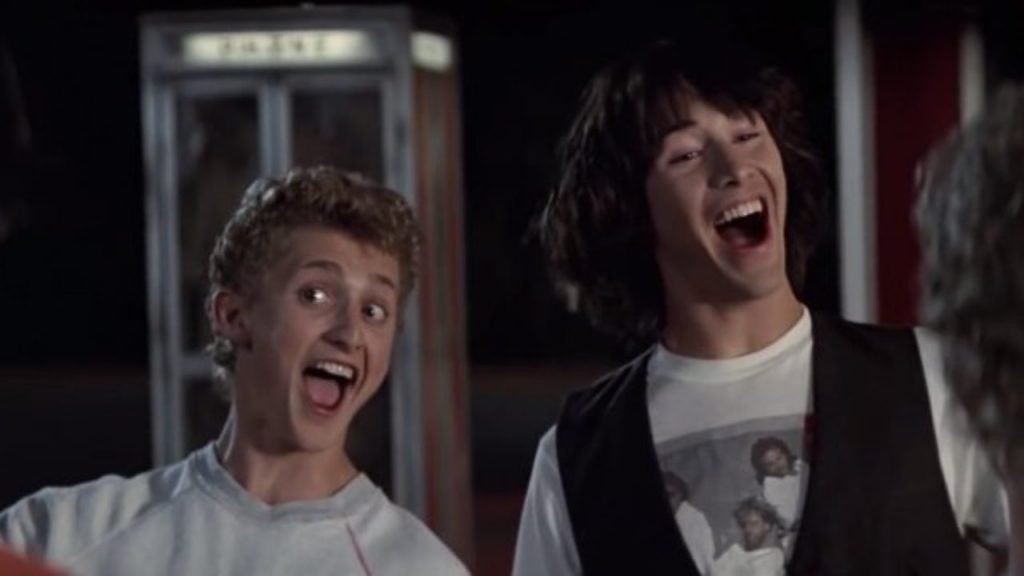 Alex Winter and Keanu Reeves star in Bill and Ted's Excellent Adventure.