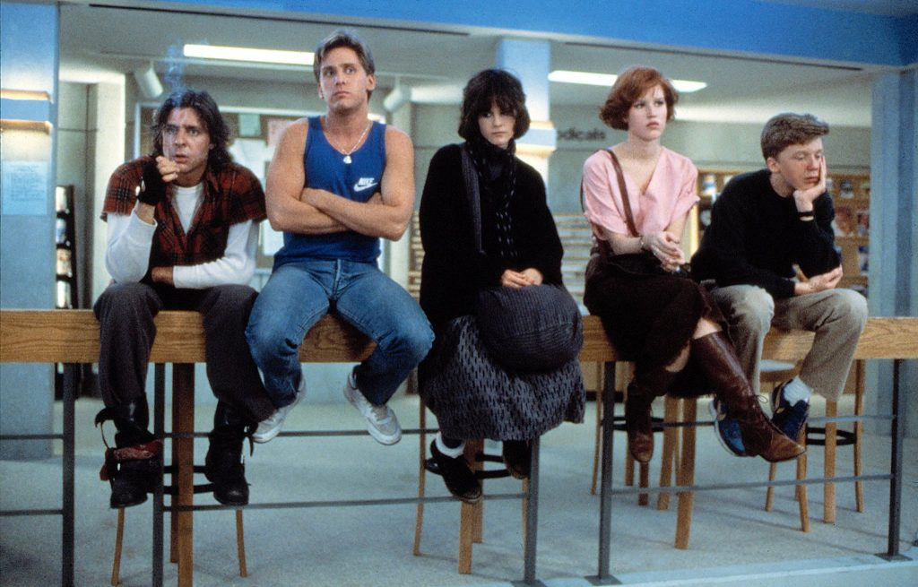 The brat pack a.k.a. Judd Nelson, Emilio Estevez, Molly Ringwald, Ally Sheedy and Anthony Michael Hall are The BReakfast Club.