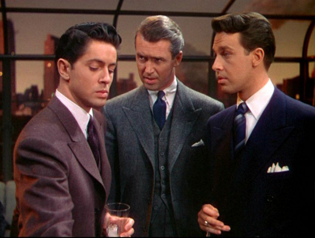 James Stewart schools John Dall and Farley Granger in Alfred Hitchcock's Rope