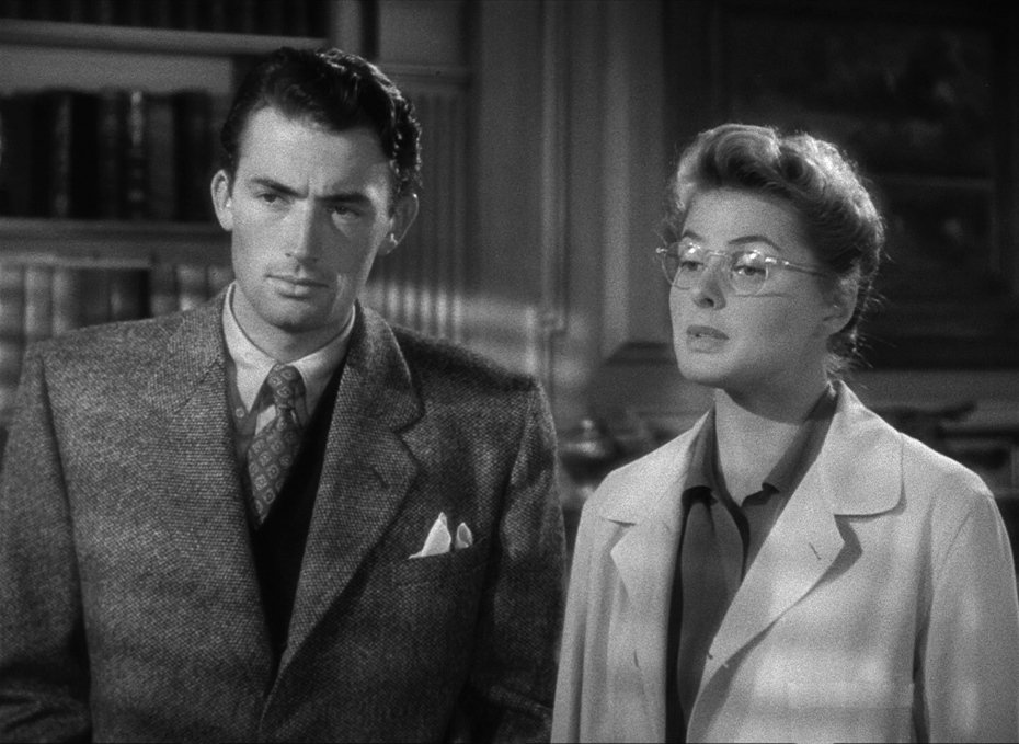 Ingrid Bergman and Gregory Peck star in Spellbound. A psychological thriller by Alfred Hitchcock