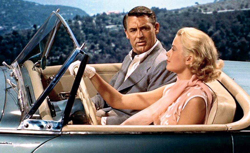 Carey Grant and Grace Kelly share an on screen romance in To Catch A Thief. A film by Alfred Hitchcock.