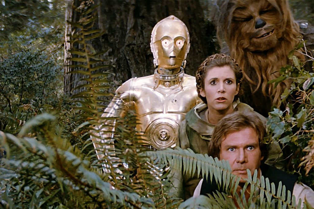 Han Solo, Chewbacca, Princess Leia and C-3PO in the Star Wars film Return of the Jedi, the worst film of the original trilogy.