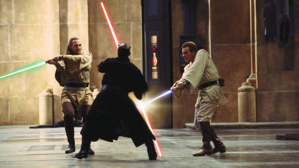 Qui Gon Jinn and Obi Wan Kenobi fight Darth Maul in The Phantom Menace, not the best Star Wars film.