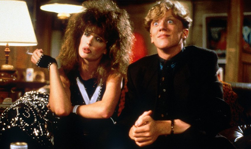 Kelly LeBrock and Anthony Michael Hall provide the laughs in the 80's teen comedy Weird Science.