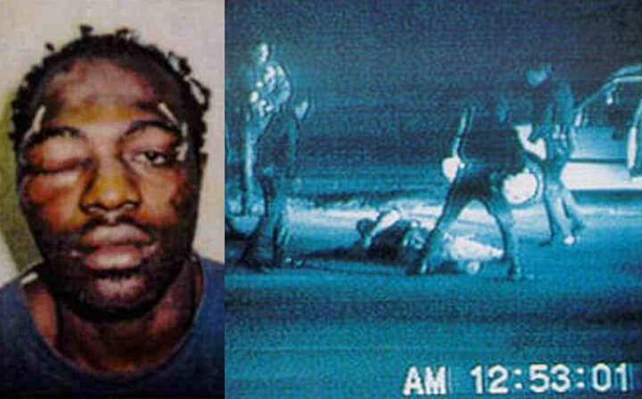 Rodney King a black motorist who was brutally beaten by police officers in LA, 1992.