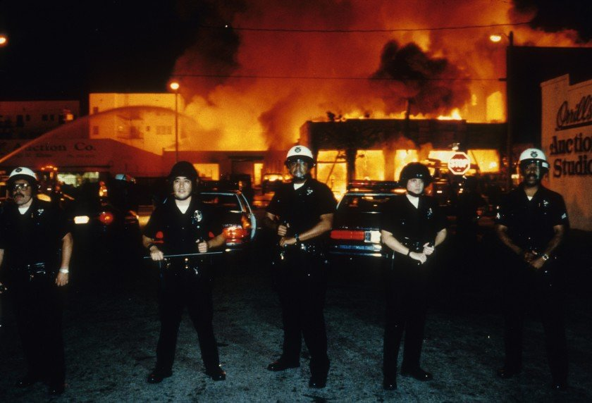Police officers hold the line in the LA riots.