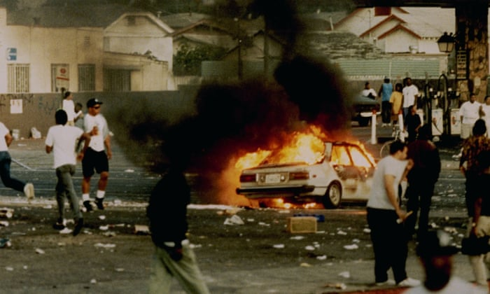 The destruction from rioting in LA 92 film.