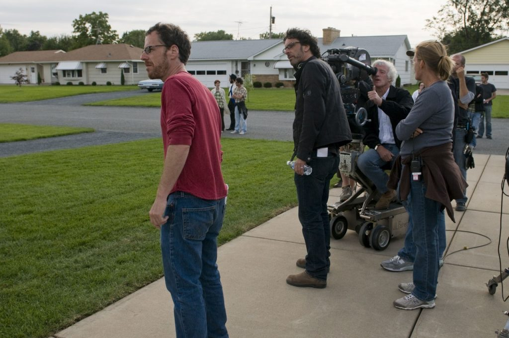 The Coen Brothers at work with cinematographer Roger Deakins