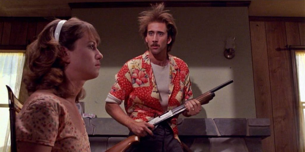 Nicolas Cage and Holly Hunter in the Coen Brothers' Raising Arizona (1987)