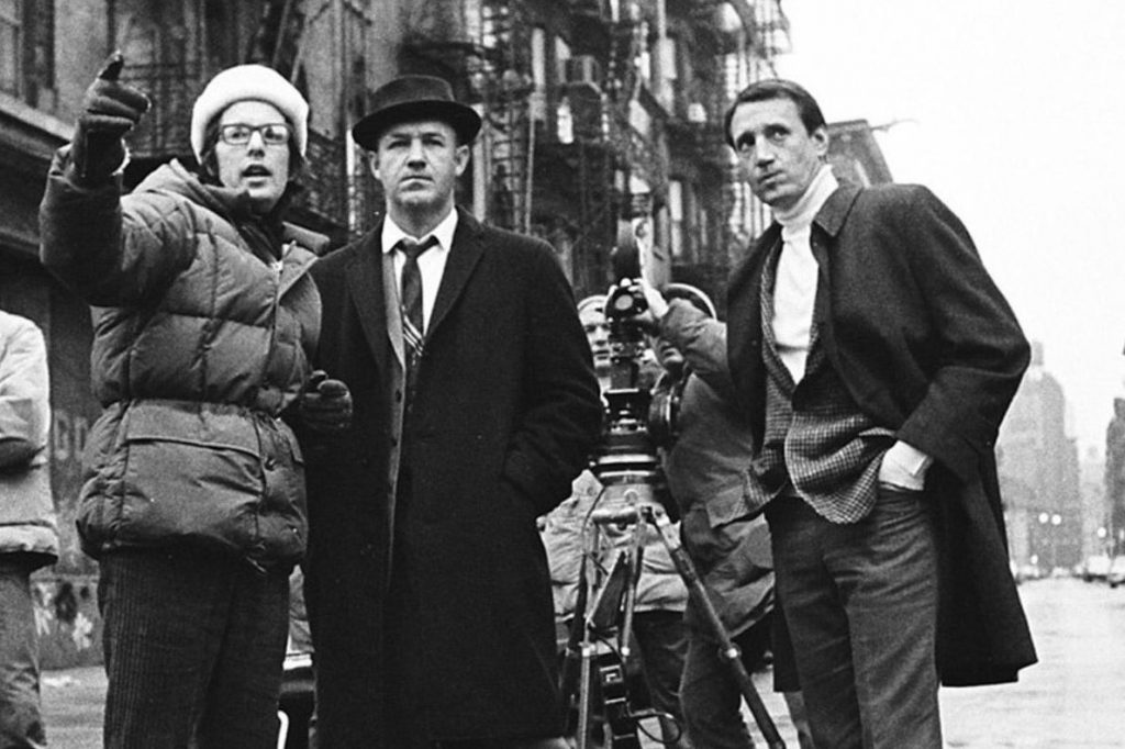 William Friedkin with Gene Hackman and Roy Scheider on the set of The French Connection