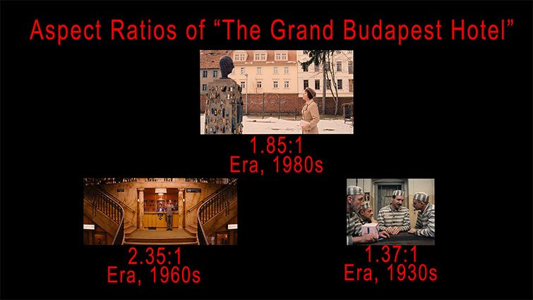An example of different aspect ratio's from The Grand Budapest Hotel (2011)  - Zack Snyder's Justice League (2021)