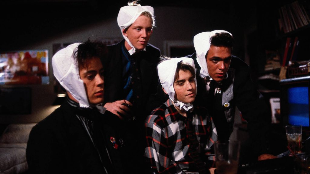 Robert Downey Jnr Anthony Michael Hall Ilan Mitchell-Smith and Robert Rusler in Weird Science