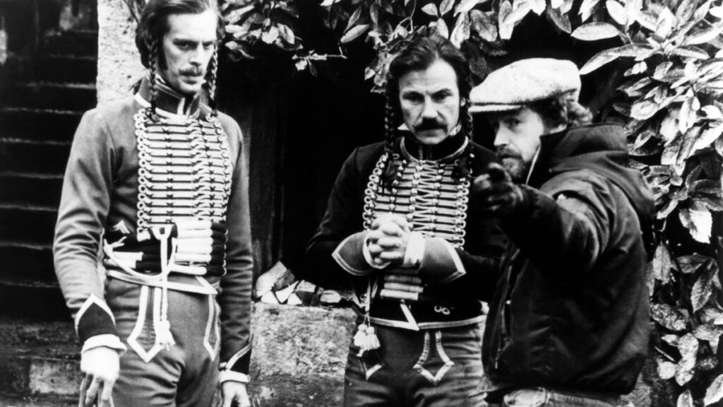Ridley Scott with Keith Carradine and Harvey Keitel during the filming of The Duellists