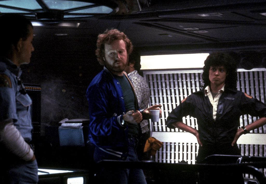 Director Ridley Scott with Ian Holm and Sigourney Weaver on the set of Alien