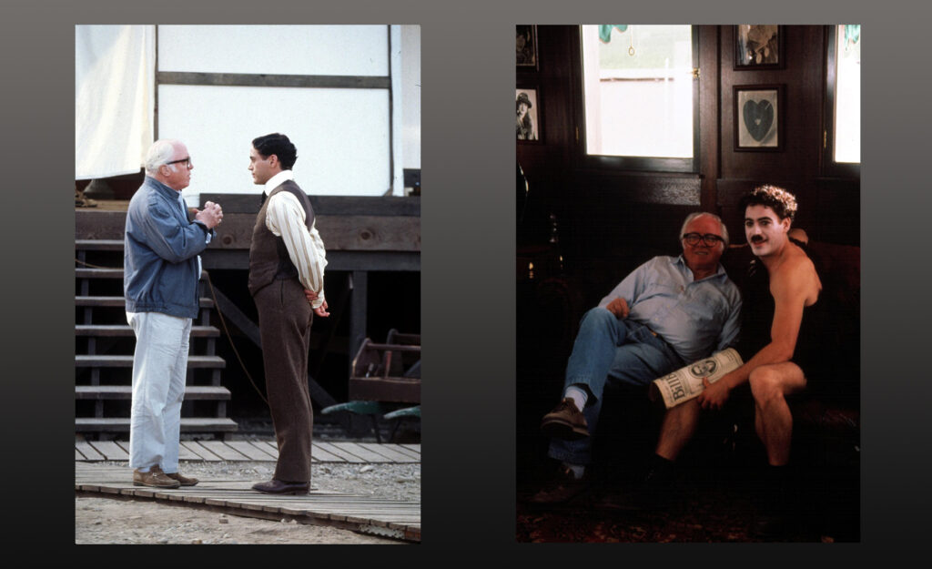 Richard Attenborough and Robert Downey Jnr during the making of Chaplin (1992)