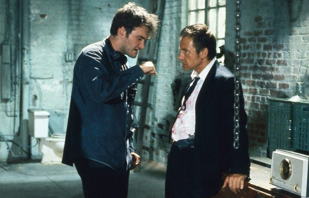 Quentin Tarantino directing Harvey Keitel in Reservoir Dogs