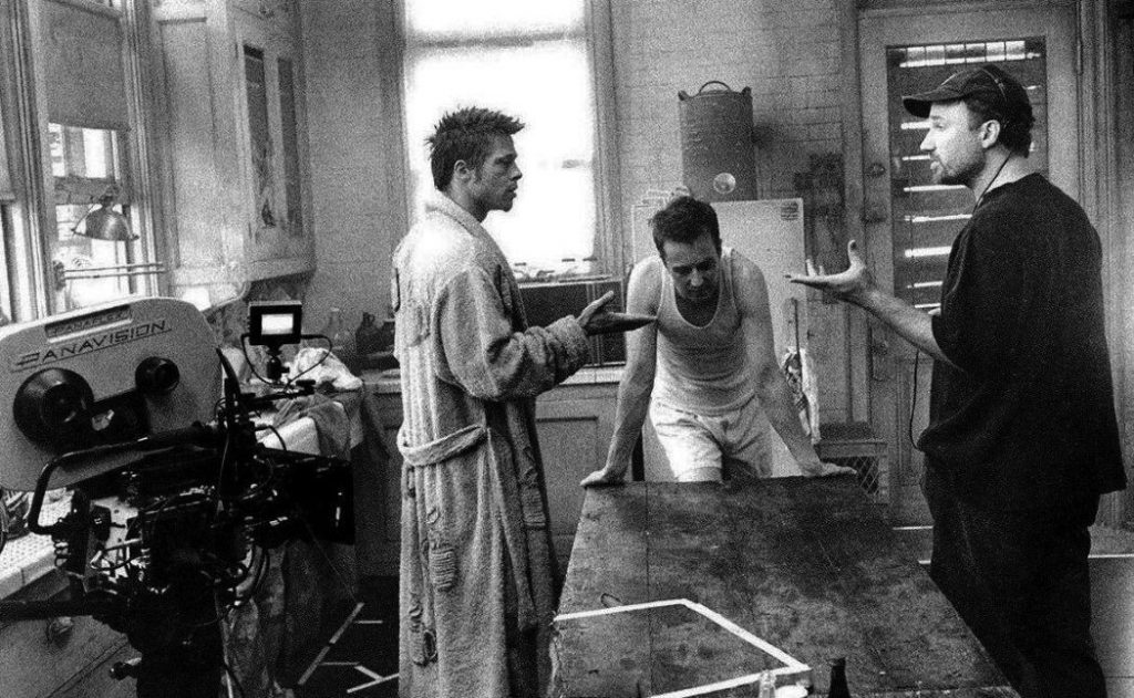 Brad Pitt, Edward Norton and David Fincher on set during the shoot for Flight Club