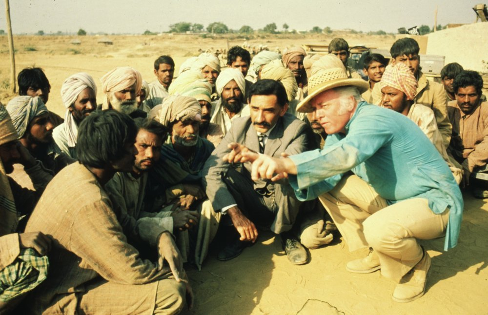 Attenborough with Ben Kingsley and cast during the shoot for Gandhi (1982)