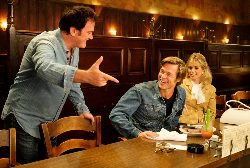 Quentin Tarantino and Brad Pitt on set  for Once Upon A Time in Hollywood