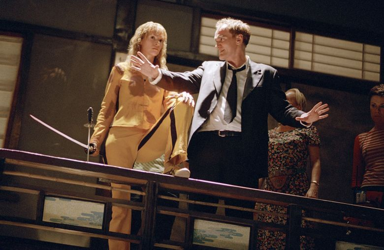 Quentin Tarantino on set with Uma Thurman during the shoot for Kill Bill Vol. 1