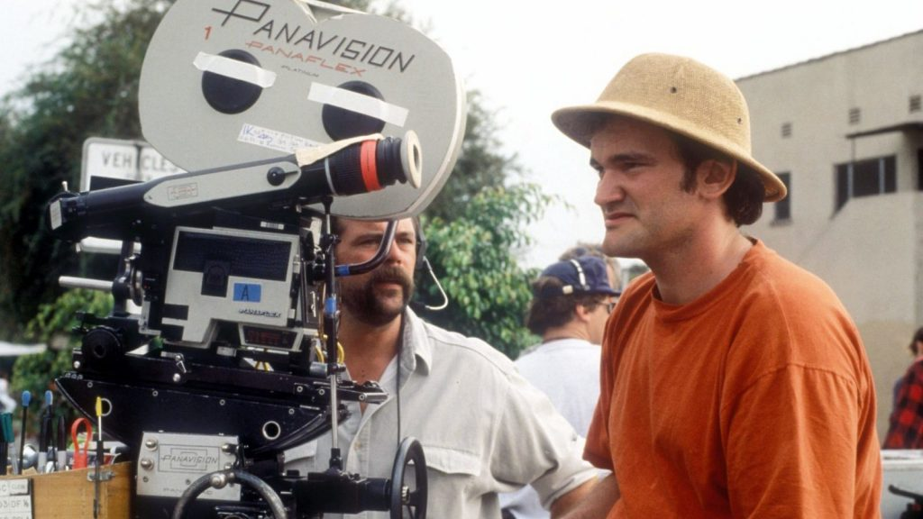 Quentin Tarantino during a location shoot on Pulp Fiction