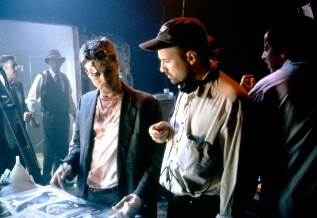 Brad Pitt and David Fincher on the set of Seven