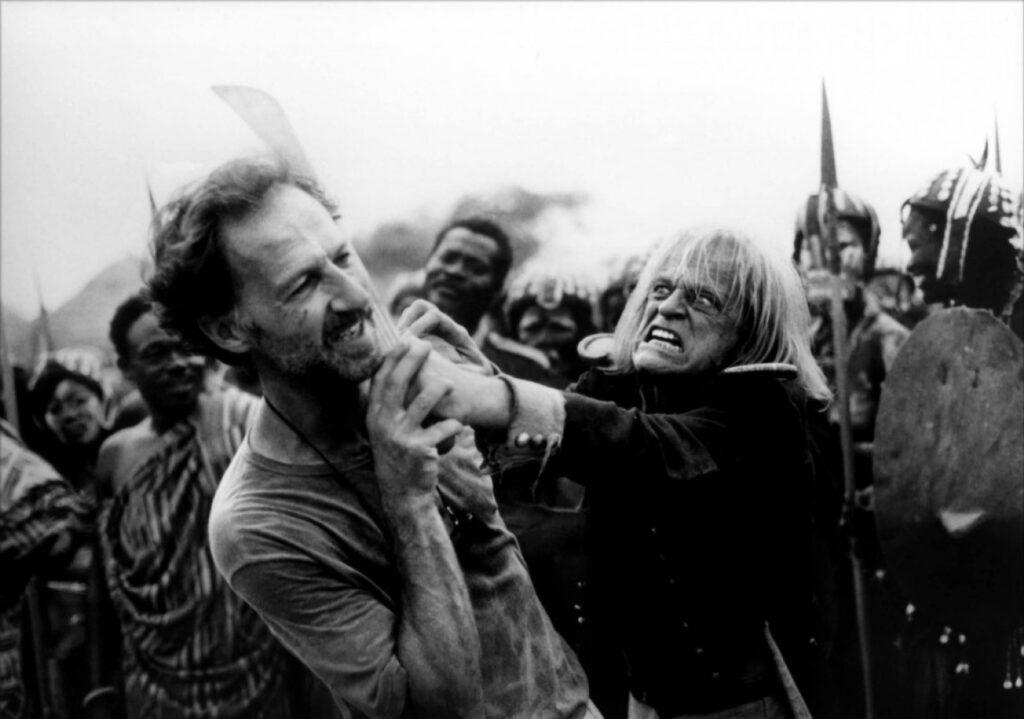 Werner and his best fiend Klaus Kinski enjoy a laugh together during the filmming of  The Cobra Verde (1987)