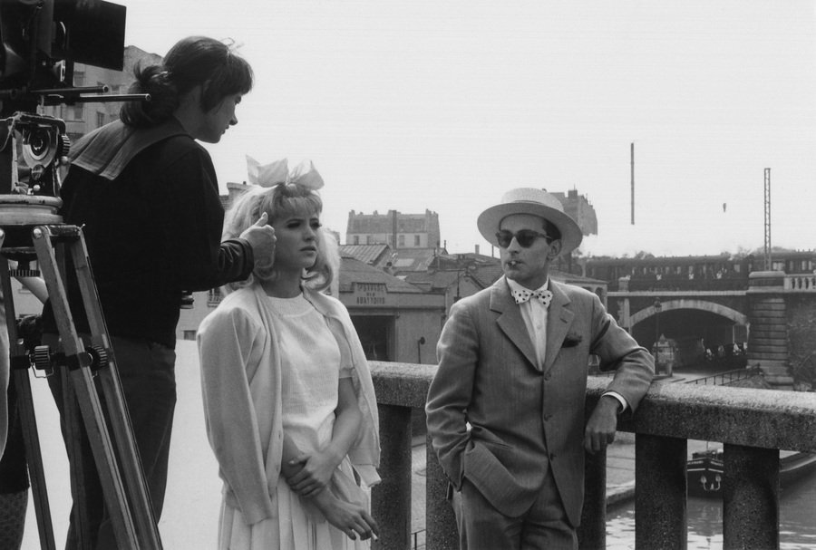 Agnès Varda with Jean-Luc Godard and Anna Karina filming a scene from Cléo from 5 to 7 (1962)