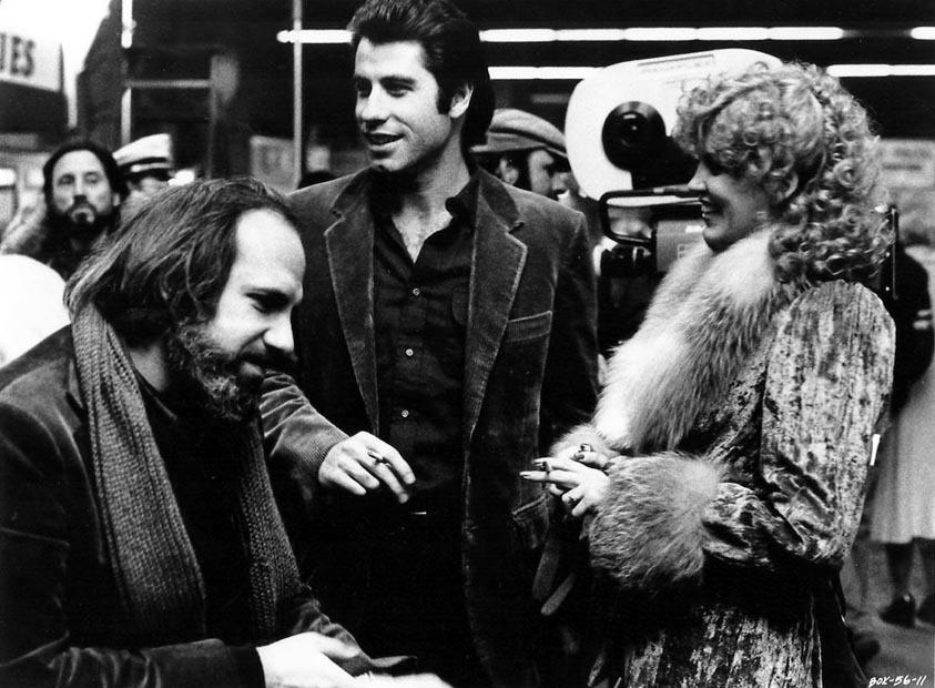 Brian De Palma, John Travolta and Nancy Allen on the set of Blow Out (1981)