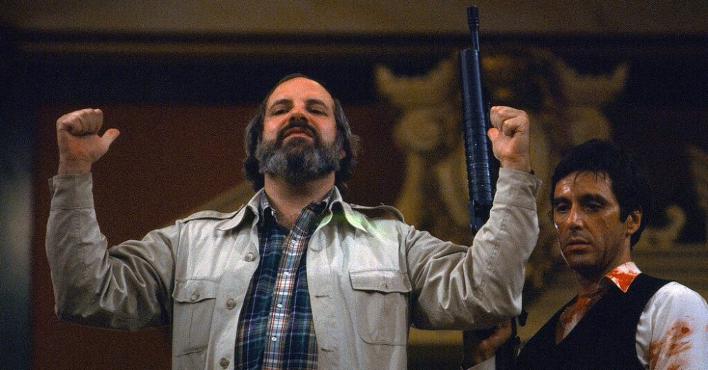 Brian De Palma and Al Pacino on set for Scarface (1983)