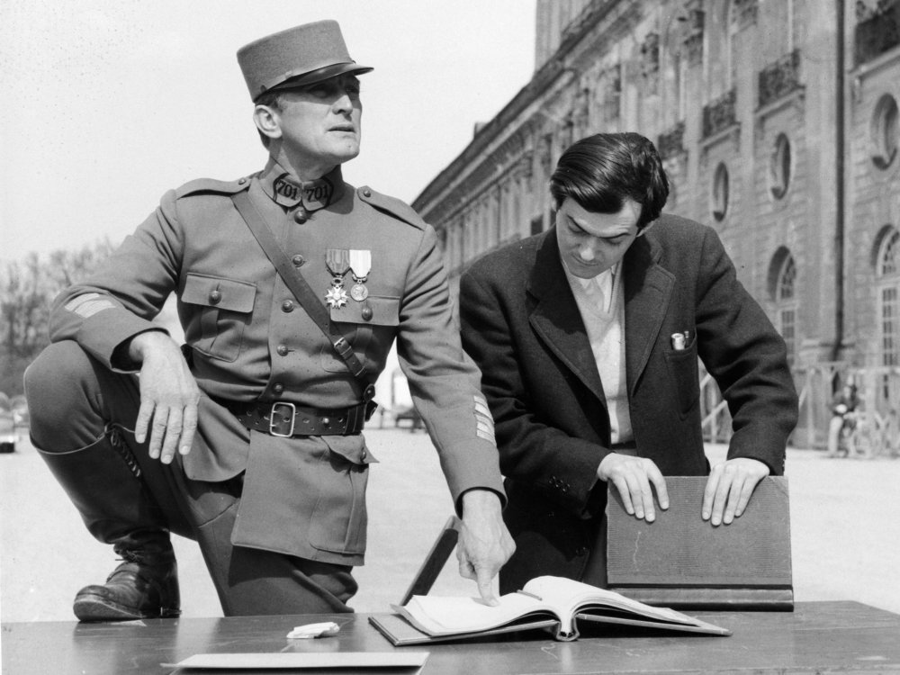 Kirk Douglas and Stanley Kubrick on the set of Paths of Glory (1957)