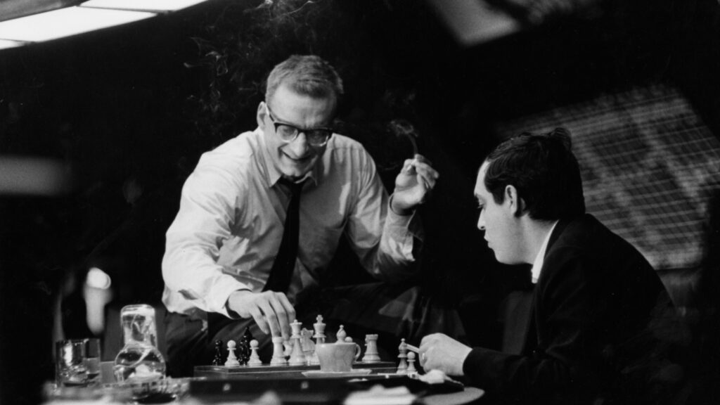 George C. Scott and Stanley Kubrick play chess on the set of Dr. Strangelove (1964)