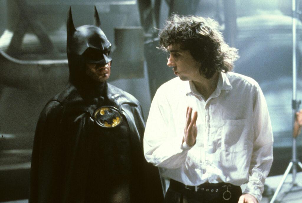 Michael Keaton and Tim Burton on set during the fiolming of Batman (1989)