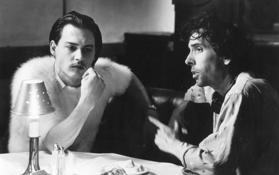 Johnny Depp and Tim Burton during the filming of Ed Wood (1994)