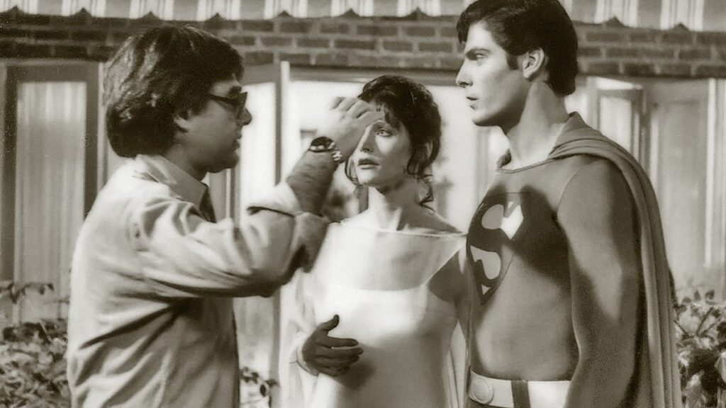 Richard Donner with Margot Kidder and Chriostopher Reeve on the set of Superman (1978)