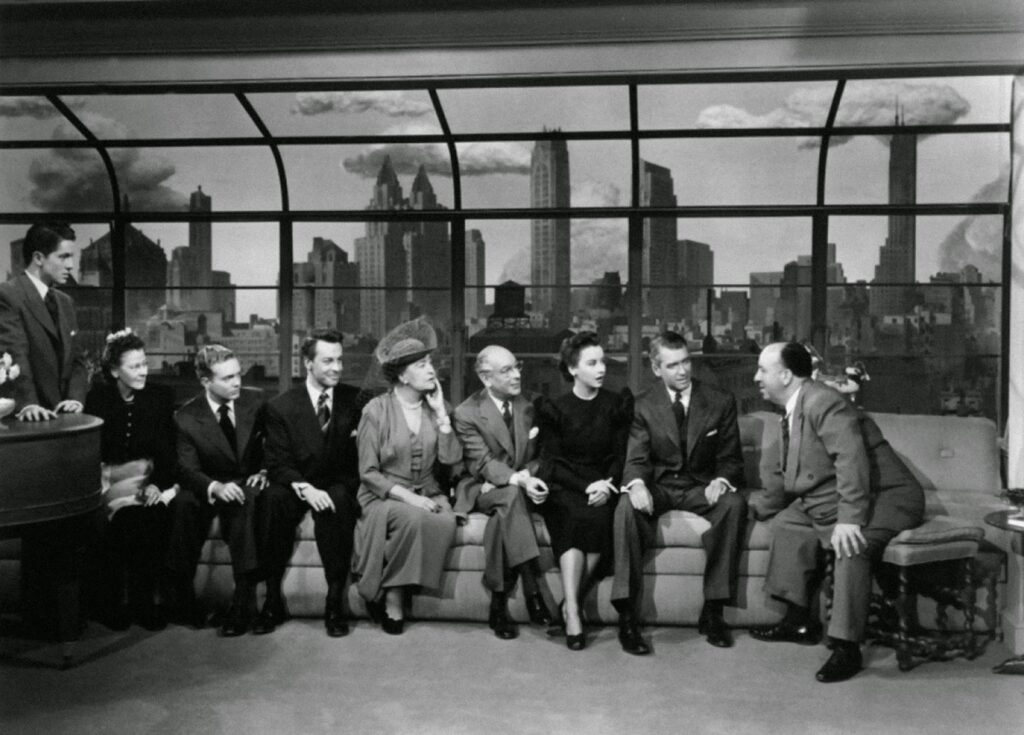 The cyclorama in the background of a publicity still for Rope (1948)