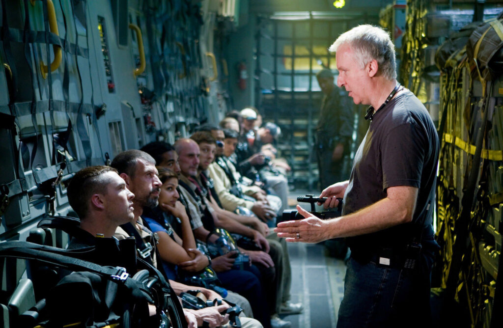 James Cameron briefs the troops on the set of Avatar (2009)