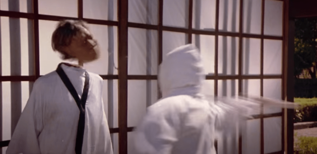 The violent beheading in the opening sequence Enter the Ninja (1981)