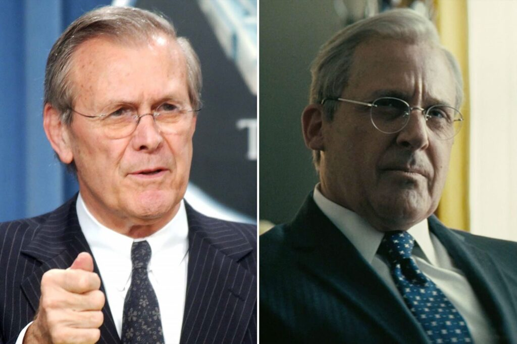 Donald Rumsfeld (left) and Steve Carell (right) playing Rumsfeld in Vice (2018)
