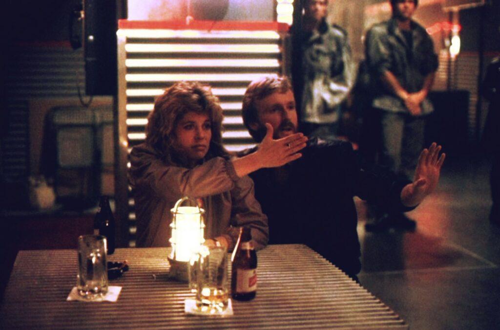 Linda Hamilton and James Cameron on set making The Terminator (1984)
