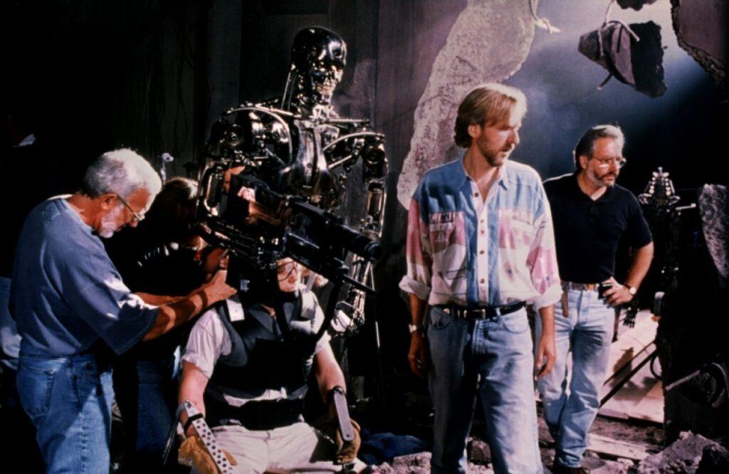 James Cameron on set filmming Terminator 2 (1991)