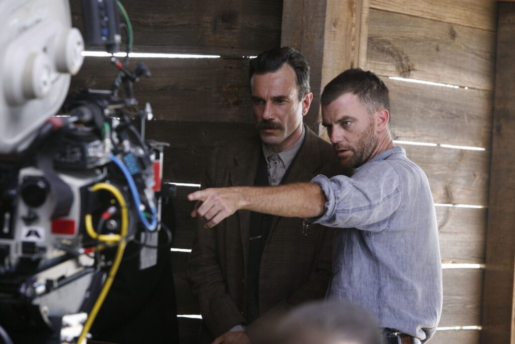 Daniel Day Lewis and Paul Thomas Anderson on the set of There will Be Blood