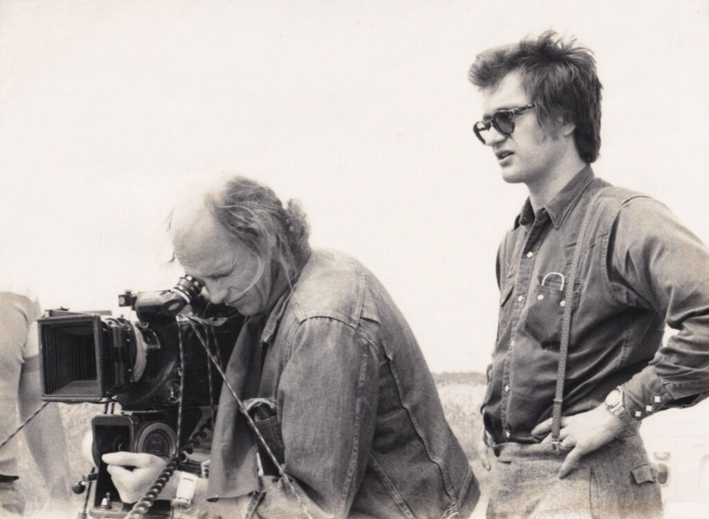Cinematographer Robbie Müller and director Wim Wenders shooting Kings of the Road (1976)