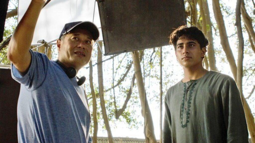 Ang Lee and Suraj Sharma during the shoot for Life of Pi (2012)