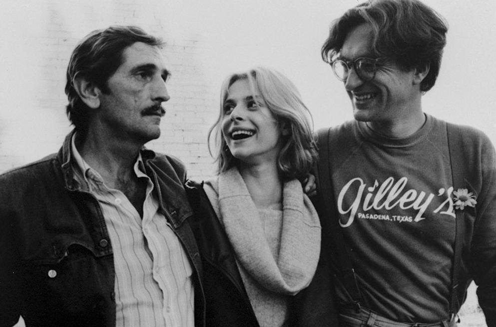 Harry Dean Stanton, Nastassja Kinski and Wim Wenders together on the set of Paris, Texas (1984)