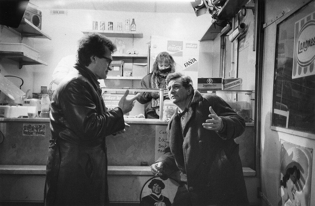 Wim Wenders with Peter Falk on location filmming Wings of Desire (1987)